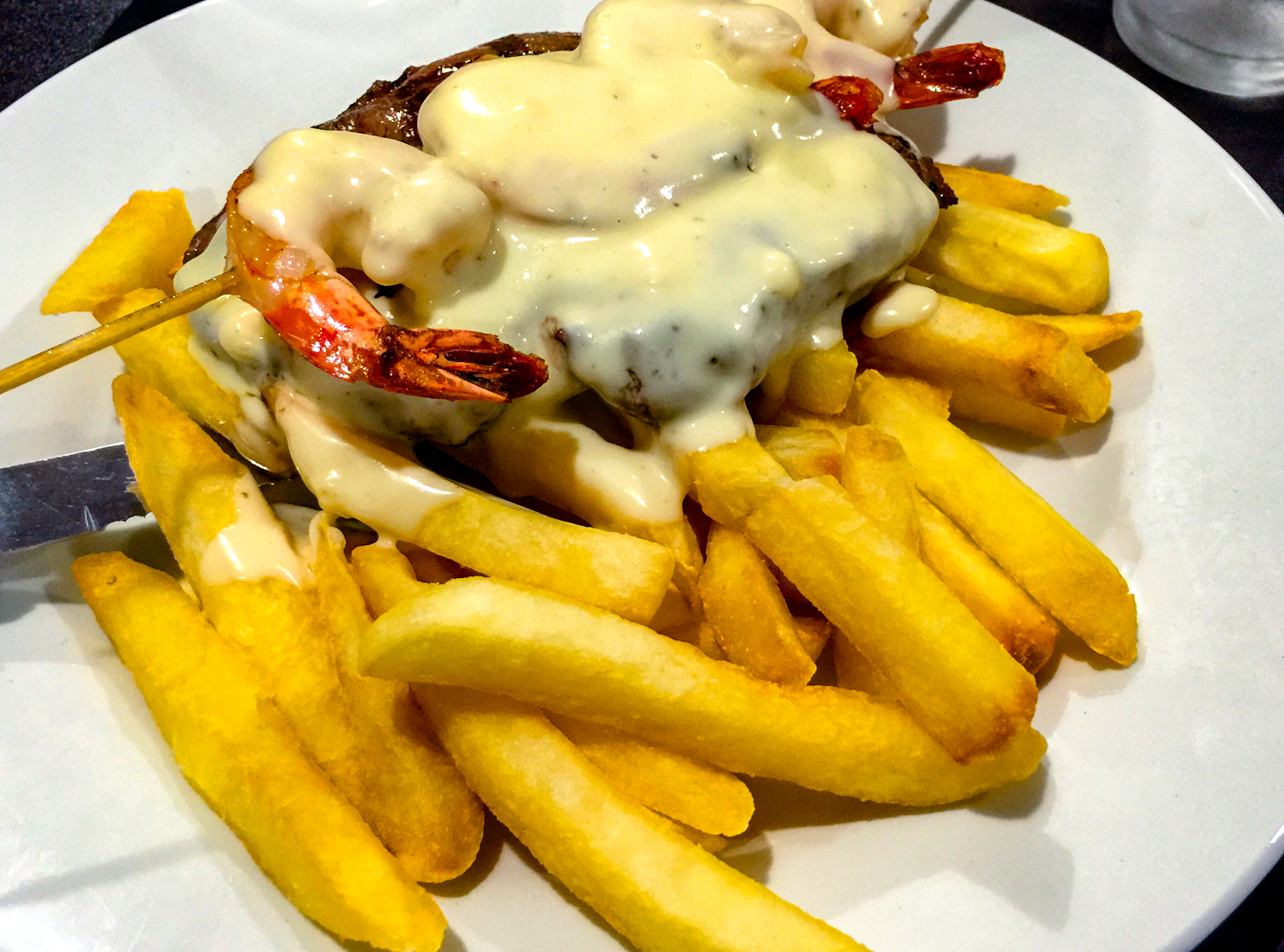 Canberra Southern Cross Club Surf and turf rump steak with prawns and chips Gary Lum