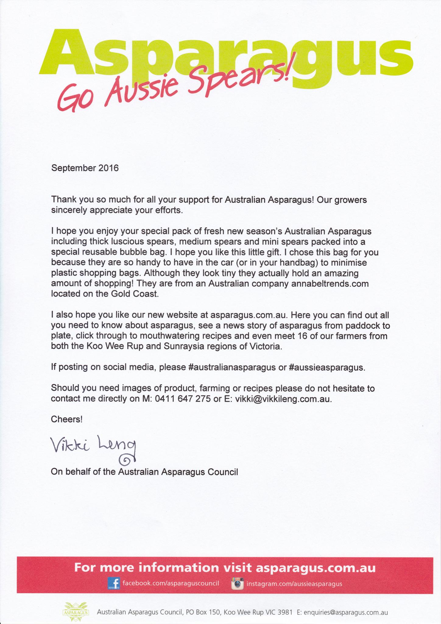 Australian Asparagus letter from Vikki Leng Gary Lum