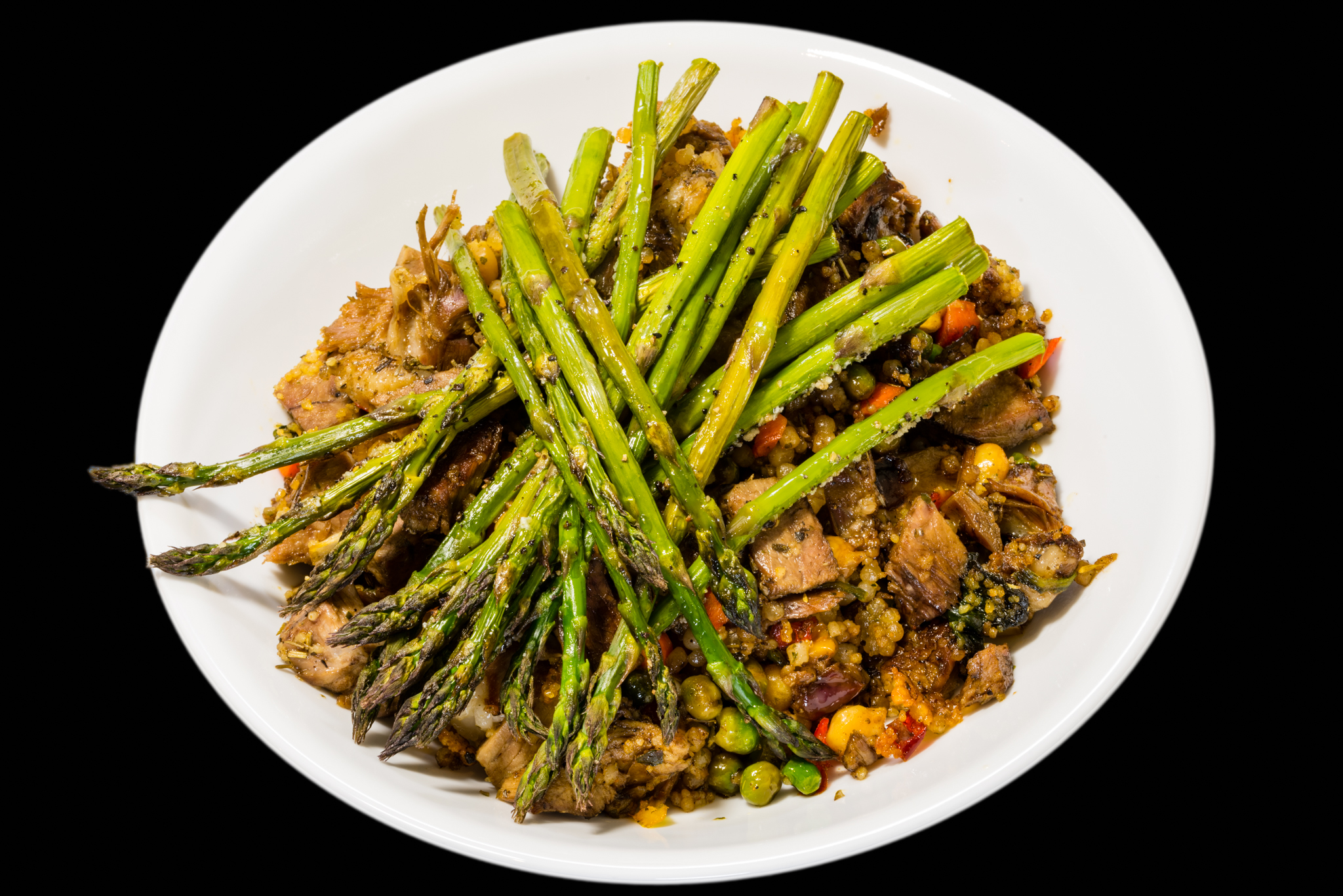 Leftover lamb shoulder with pearl barley couscous and roasted Australian asparagus Gary Lum