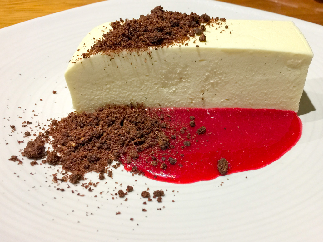 Vanilla cheesecake with chocolate soil and raspberry coulis road trip to Bendigo