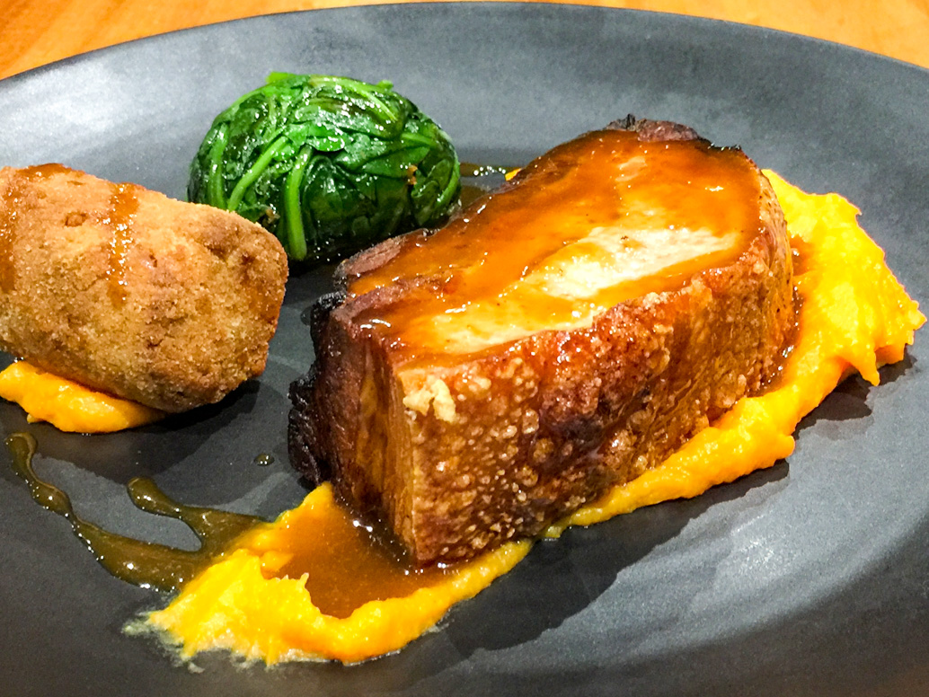 Crumbed pork shoulder rillette, braised pork belly, sweet potato mash and spinach road trip to Bendigo