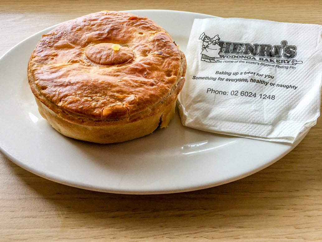 Minted lamb pie from Henri's Bakery, Wodonga road trip to Bendigo