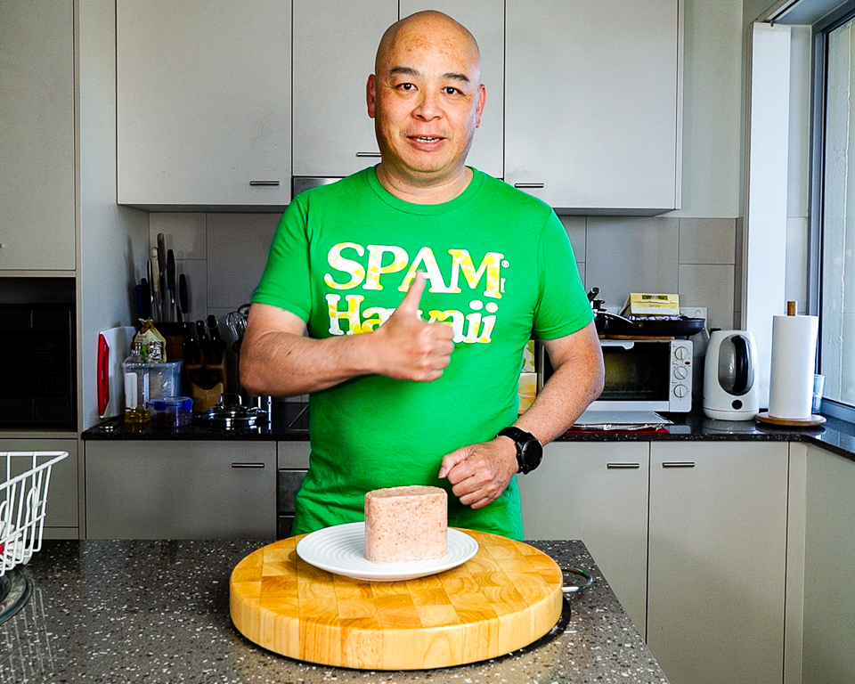 Here's me opening a can of black pepper Spam while wearing my Spam Hawaii T-shirt Gary Lum