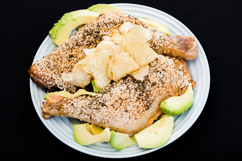 Roast sesame Chicken Maryland with avocado and potato chips #dinner #yummylummy #foodporn #yummy #delicious #instafood #nikon Gary Lum