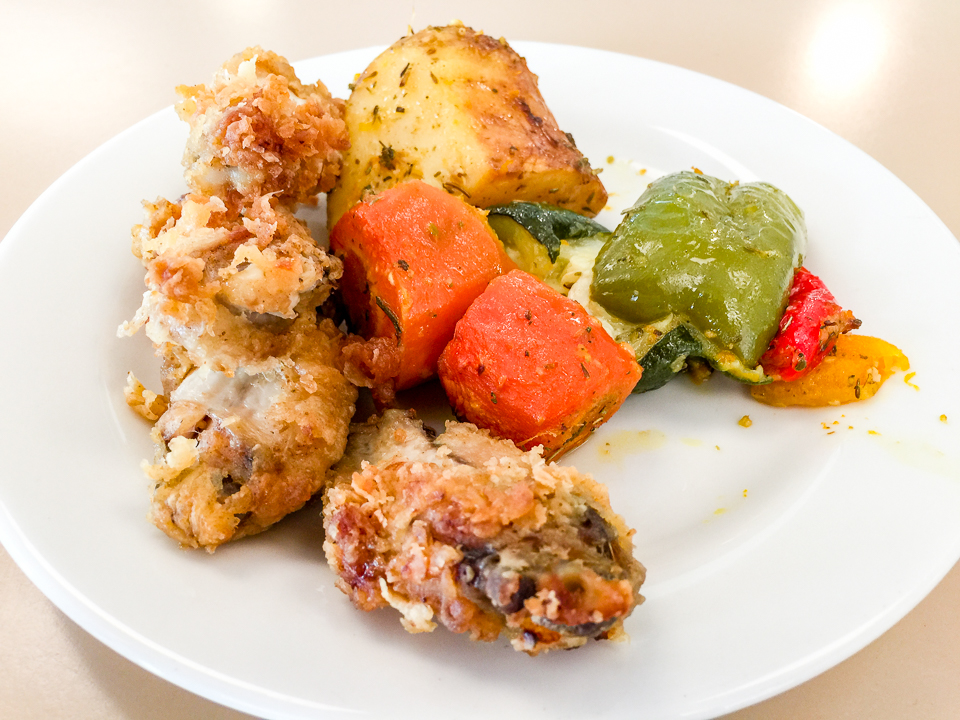 Fried chicken and roast vegetables from the Canberra Hospital's staff cafeteria Gary Lum