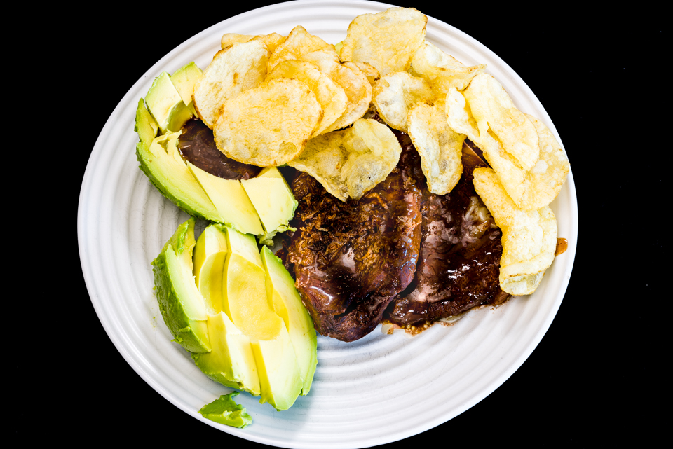 Slowly cooked oyster blade steak with potato chips and avocado #dinner #yummylummy #foodporn #yummy #delicious #instafood #nikon Gary Lum