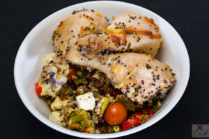 Hot days. Hot hot hump day dinner. Roasted chicken drumsticks on spicy crispy cheesy quinoa rice. Gary Lum