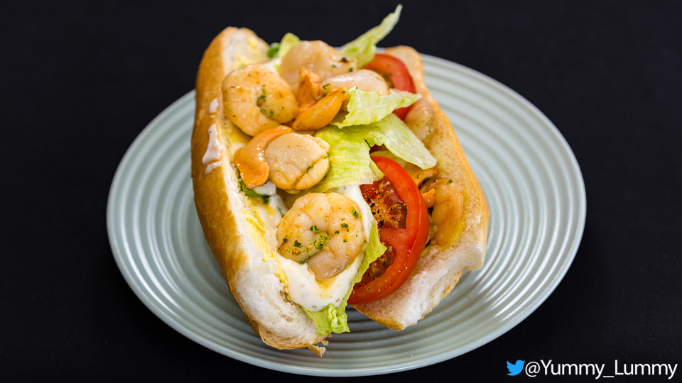 Prawn and scallop sandwich with tomato and lettuce and garlic aioli Gary Lum