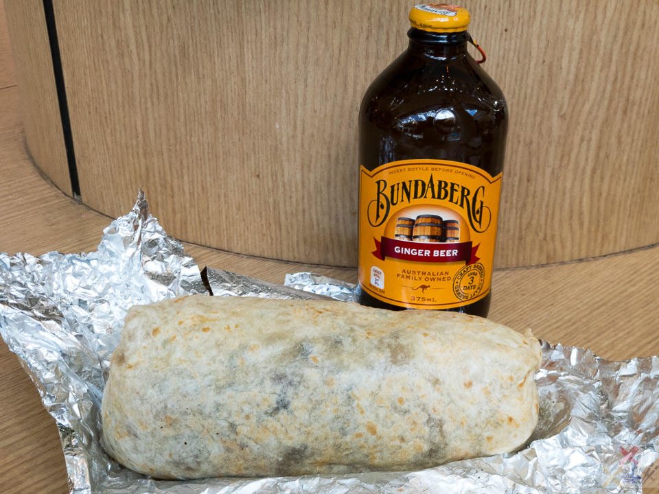 Pulled pork burrito with ginger beer. Gary Lum