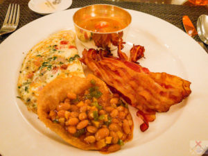 Is it wrong to have lovely spicy baked beans with my poori along with a cheese omelet and bacon? alimentary tract Gary Lum