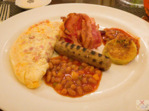 Cheese omelet with baked beans and bacon breakfast at The Imperial alimentary tract Gary Lum