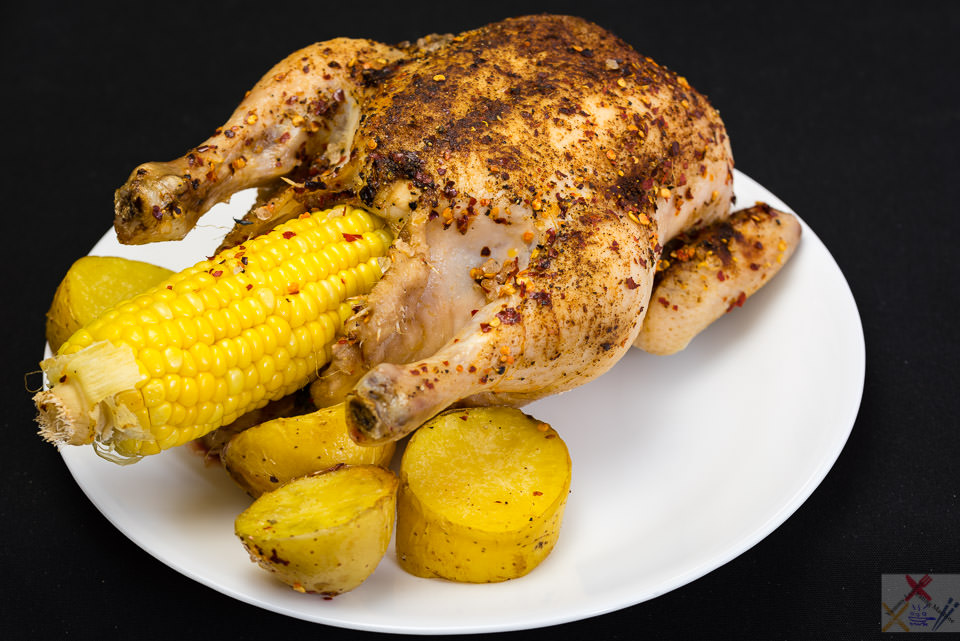 Roast chicken with a cob of corn and a duck fat roasted potato Cooking corn Gary Lum