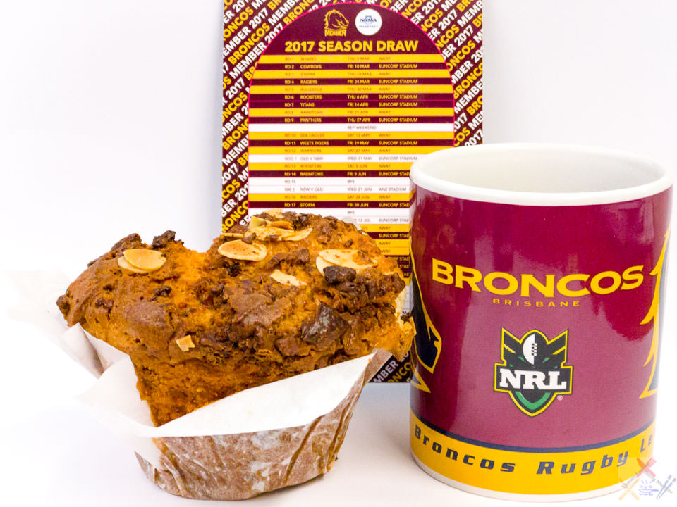 The 2017 #NRL season kicks off tonight. Let's GO Brisbane Broncos. Coffee with Urban Bean almond and white chocolate muffin. Gary Lum routine
