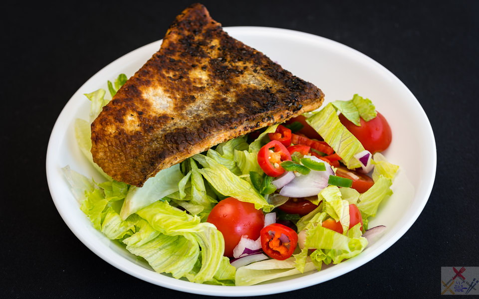 Crispy skin salmon and salad Gary Lum