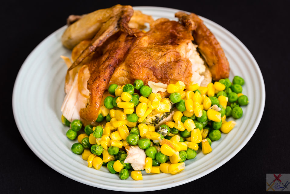 Leftover roast chicken on a fried cream cheese bread roll with peas and corn Gary Lum routine