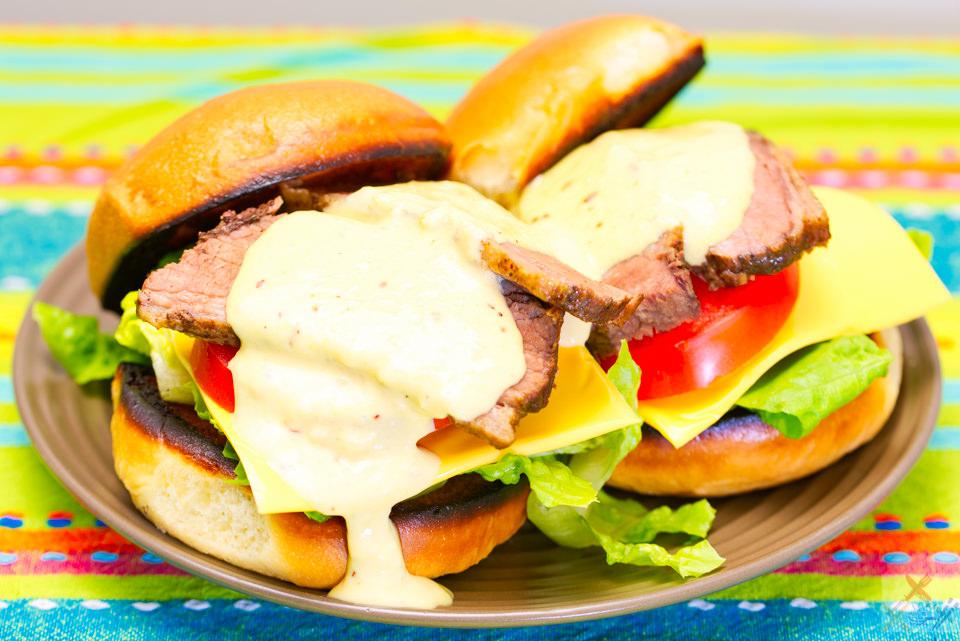 Slowly cooked beef brisket brioche burger with donkey sauce Gary Lum