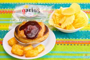 Garlo's lean beef pie, potato gems and chips Gary Lum
