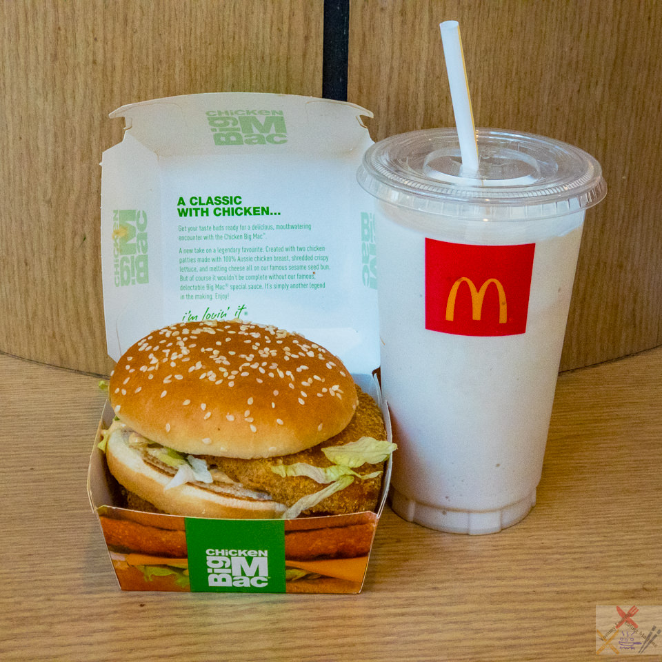 Chicken Big Mac and vanilla shake McDonald's Gary Lum Belconnen