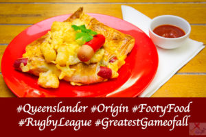 State of Origin Footy food cheerios wrapped in puff pastry with potato gems Queenslander Gary Lum