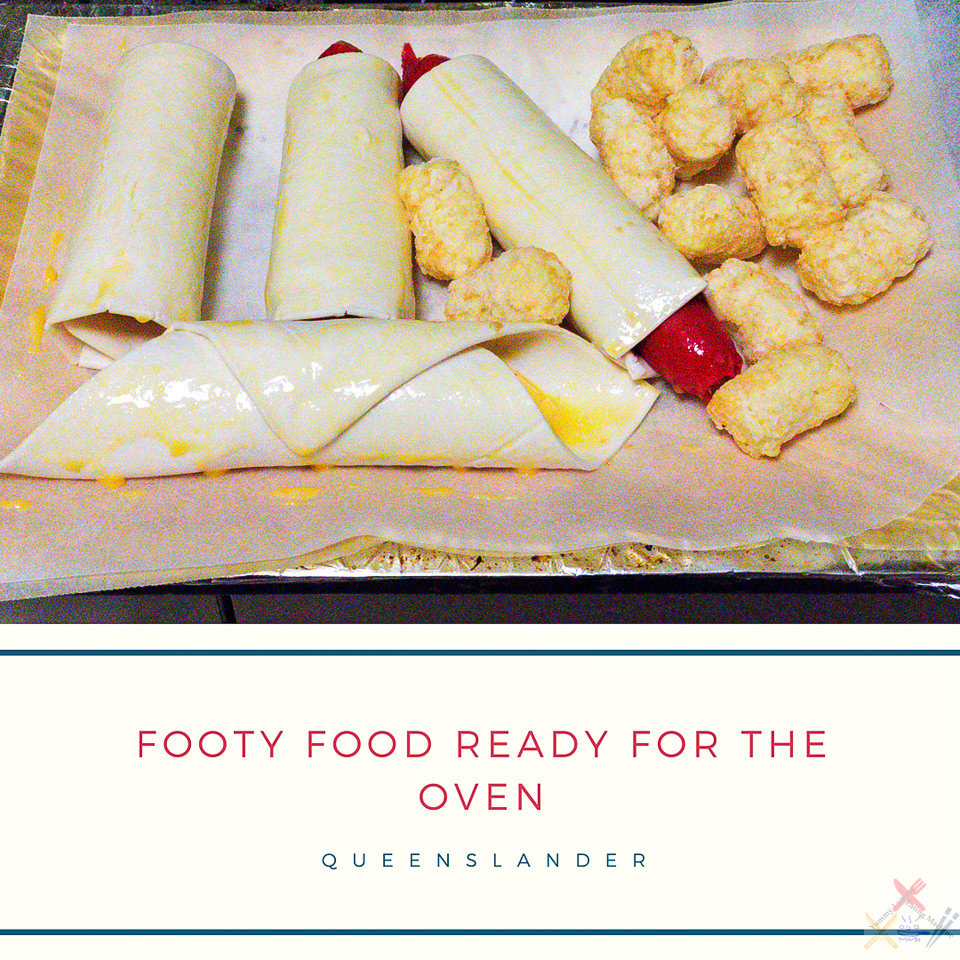 State of Origin Footy food cheerios wrapped in puff pastry with potato gems ready for the oven Queenslander Gary Lum