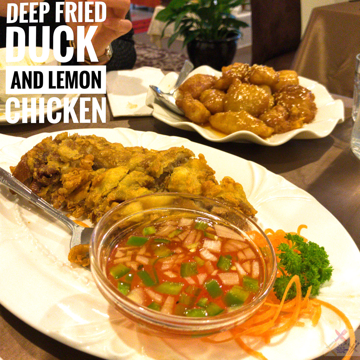 Deep fried duck and lemon chicken from Taste of China Gary Lum