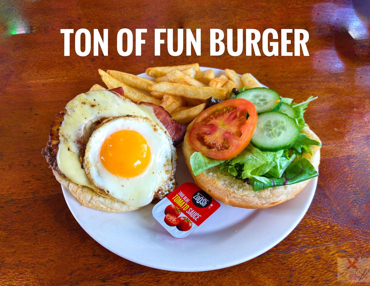 Ton of Fun burger from the rainforest Views Restaurant Kuranda Gary Lum