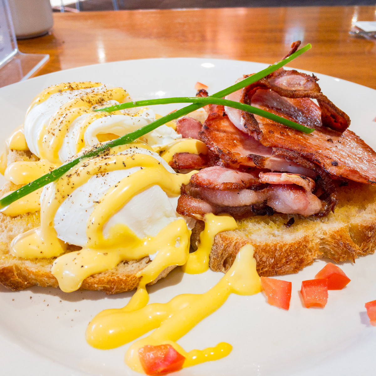 Bacon and eggs with Hollandaise sauce on Sourdough Gary Lum