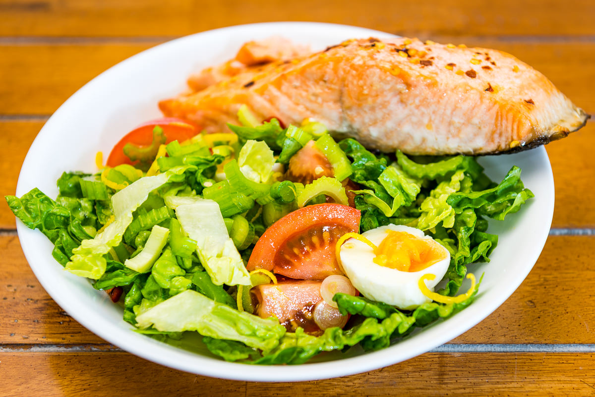 Baked salmon with salad Gary Lum