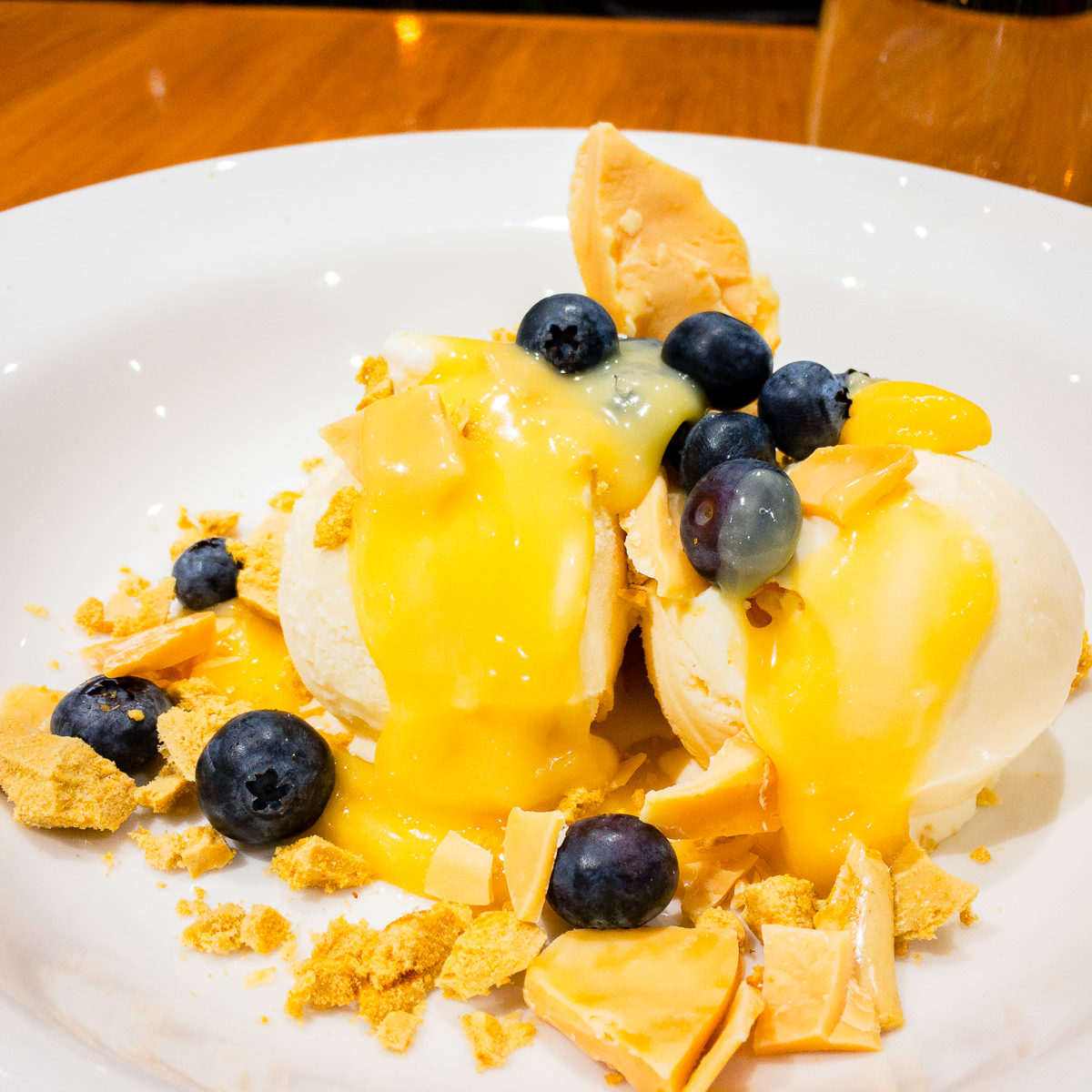Fruit sundae with white chocolate and honeycomb Gary Lum