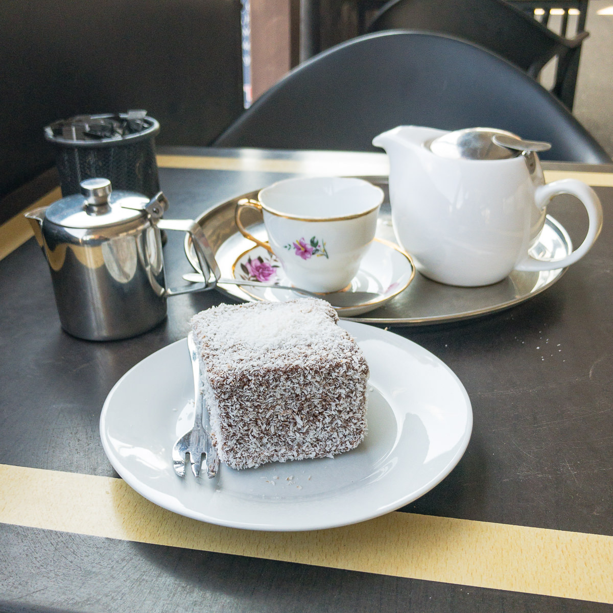Lamington and tea at Violet Town Café Gary Lum