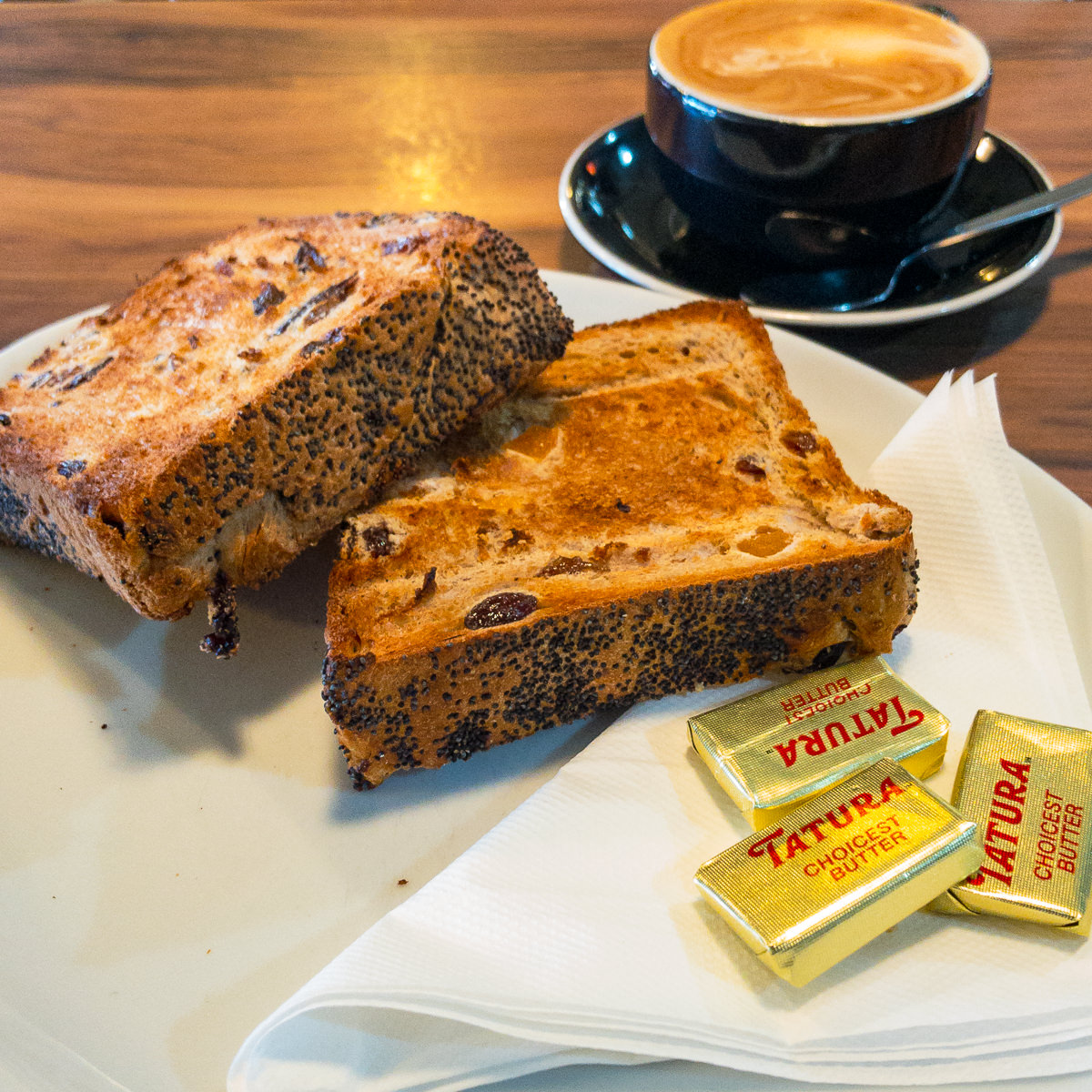 Raisin toast and coffee at Hide's Bakery Benalla Gary Lum