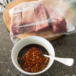 Beef short ribs ready for marinading Gary Lum