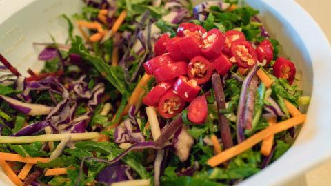 Kale and cabbage salad with bird's eye chillies Moreton Bay Bug Gary Lum