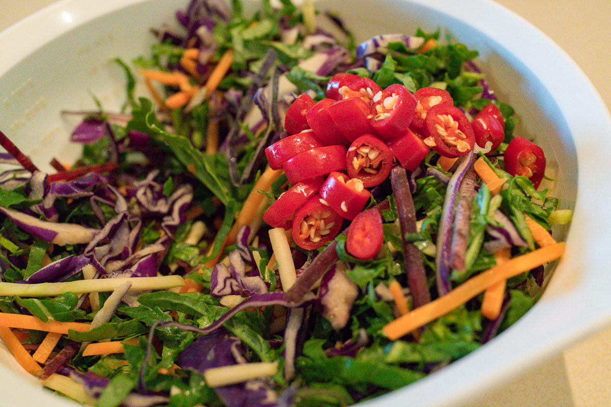 Kale and cabbage salad with bird's eye chillies Moreton Bay Bug Gary Lum