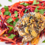 Chicken thigh fillet stuffed with Vegemite and Coon cheese served with horseradish beetroot slaw Yummy Lummy Gary Lum