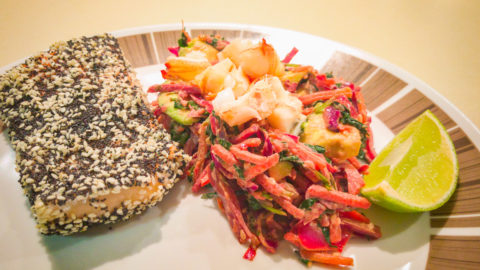 Friday dinner Australia Day 💚💛🇦🇺 Poppy and sesame seed crusted salmon with Moreton Bay bug topped kale and avocado slaw salad flavoured with horseradish cream.