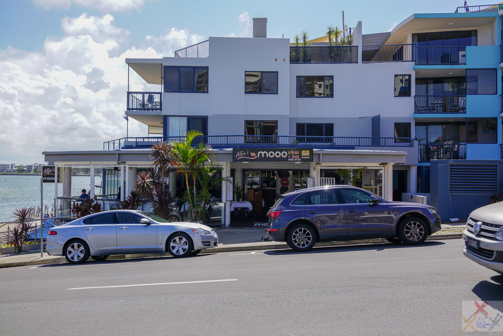 This is a photograph of the front of Alfie's Mooo Char & Bar restaurant at Caloundra.
