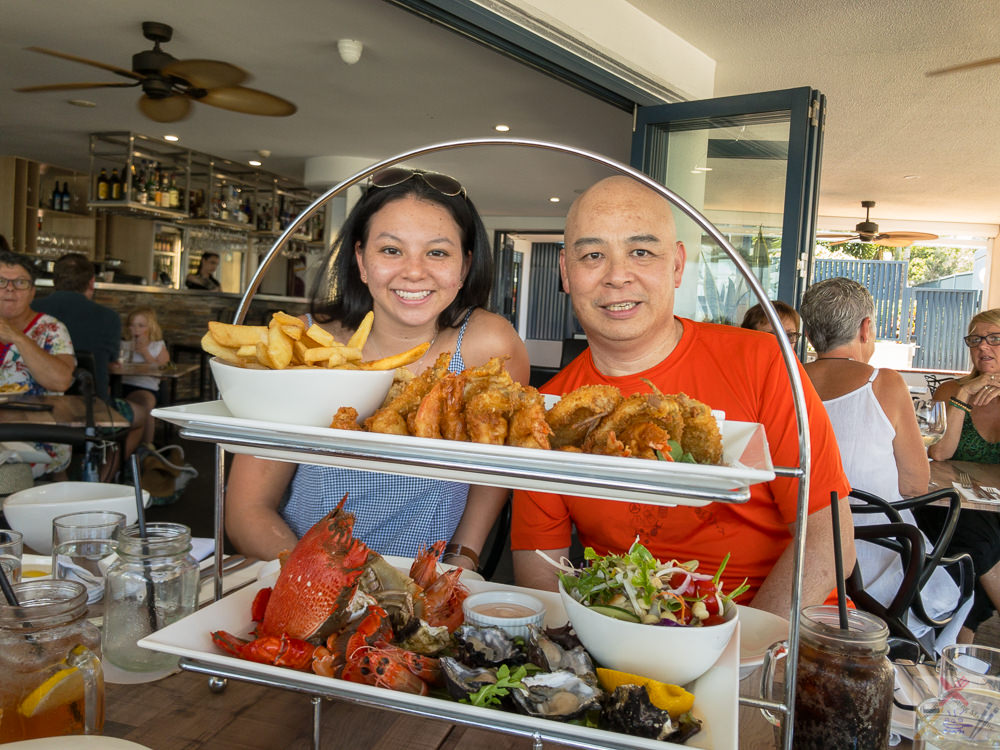 This is a photograph of me (Gary Lum aka Yummy Lummy) and my daughter before we begin to tuck into out hot and cold seafood platter at Alfie's Mooo Char & Bar restaurant at Caloundra.