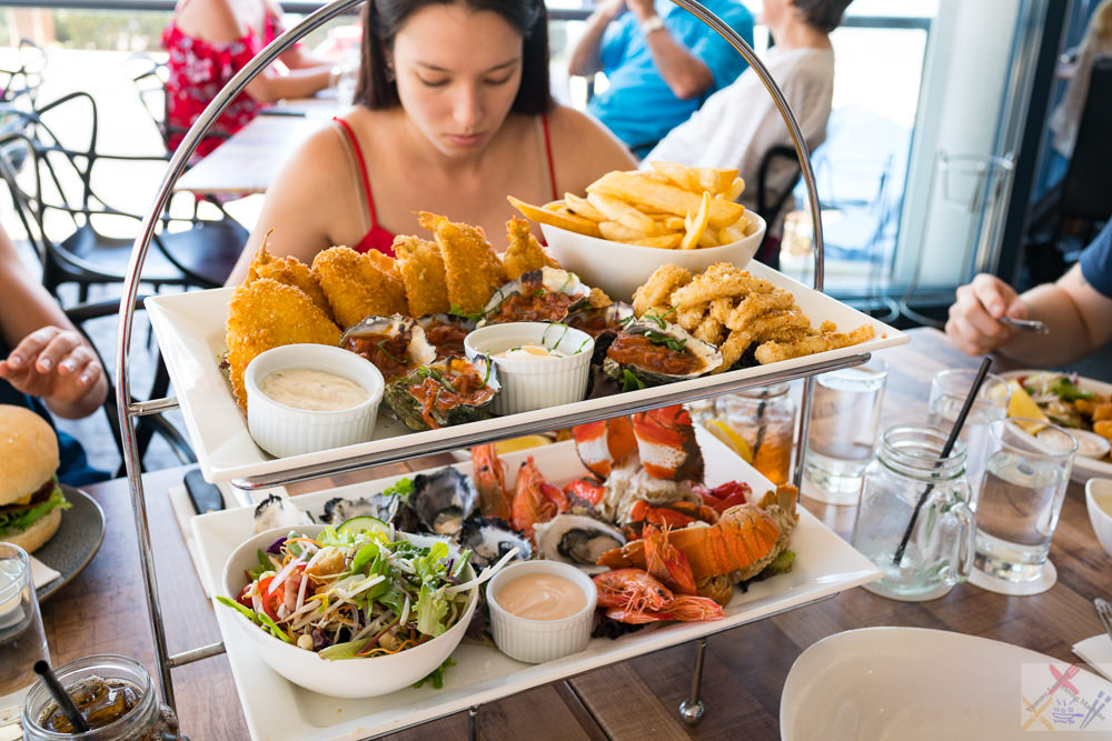 This is a photograph of my view of the hot and cold seafood platter at Alfie's Mooo Char & Bar restaurant at Caloundra.